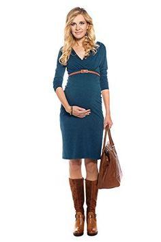 ca37c44c8747 Vestito premaman & allattamento Carla verde scuro XL (X-large)  Abbigliamento Premaman MY TUMMY ®©TM Abiti eleganti di maternità, donne  incinte: Amazon.it: ...