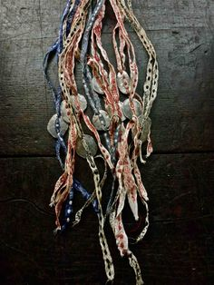 talisman necklace / pewter and embroidered ribbon
