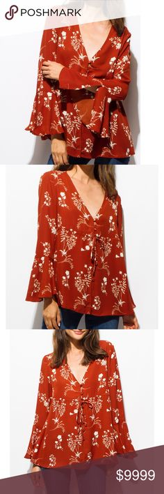 """Just In! Floral Boho Top This floral print blouse is sassy & sweet, has a plunging V-necklineand fluttering long bell sleeves. Can be buttoned up with tie strings. 100% Polyester. Items may come from wholesaler without tags   Model is 5'7"""" in a SM. Chest32A, Waist 32.5"""", Hips 34"""" Manufacturer Sizing Guide US Size BUSTWAISTHIP S            32-34  24-2634-36 M           34-36  27-2936-38 L            36-38  30-3238-40 Wholesaler selling out of sizes. Reserve yours today! Tops"""