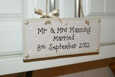 Wedding plaque keepsake - The Supermums Craft Fair