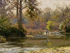 Fishing the Guadalupe by Mark Haworth Oil ~ 9 x 12