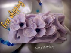Orchid Carving soap, Thai Carving soap, hand carved bar soap, lilac orchid soap…