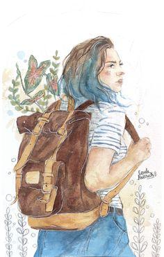 Travel girl painting 25 trendy ideas travel в 2019 г. Drawing Bag, Girl Drawing Sketches, Girl Sketch, Art Drawings, Travel Journal Scrapbook, Arte Sketchbook, Travel Drawing, Painting Of Girl, Travel Illustration