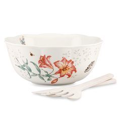 LENOX Butterfly Meadow Salad Bowl with Wood Servers $59.95 BEST PRICE GUARANTEE FREE WORLD SHIPPING (LOCAL ORDER PICK UP IS ALSO AVAILABLE & GET 20% OFF)