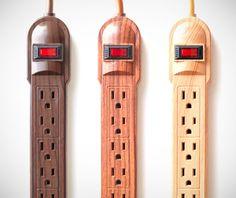 faux bois power strips... geek out in style #fauxbois