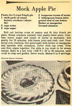 MOCK APPLE PIE!   Someone was telling me about this.  I never thought that it wouldn't have any apples in it!