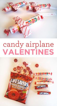 This little craft is one that I remember from being a kid. My mom made these airplanes for us for some occasion and I guess I never forgot it. It is just as simple as can be. You just raid the candy aisle at the grocery store and assemble with a single rubber band. I printed little tags for them, bu