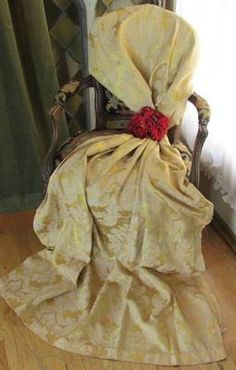 Vintage French Chateau Style Silk Brocade Fabric Drapery Panel | eBay