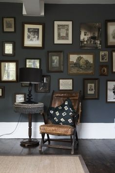 Love the wall color with the wide white floor boards...validates my desire to paint my living room darker.  I want this color.
