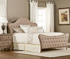 Jefferson Upholstered Bed this is cheap we could have it reupholstered and painted.  could be really pretty in the end.