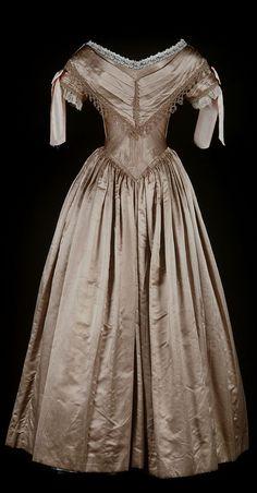 Ball Gown: ca. 1839-1840, satin, silk, cotton, ribbon, boned bodice.