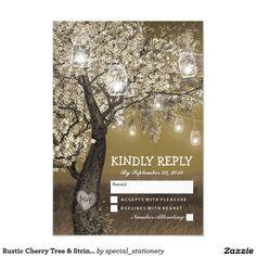 Rustic Cherry Tree & String Lights Wedding RSVP