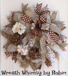 Neutral Burlap Mesh Hydrangea Wreath, Cream & Brown Wreath, Animal Print Wreath, Summer Wreath, All Season Wreath, Shabby Chic Wreath by WreathWhimsybyRobin on Etsy