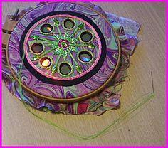 Fiber art - covered CDs - tutorial -- Has a Shisha mirror look to it.