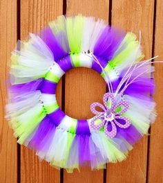 Spring wreath, Purple and green wreath, tulle wreath, tutu wreath, summer wreath, girls wreath by Lazyacrecreations on Etsy