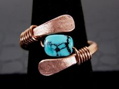 Hammered Copper Ring with Turquoise Center Stone by BonzerBeads, $20.00