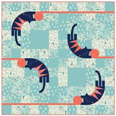 "= free pattern = Cat Lady quilt, 60 x 60"", by Sarah Watts.  The sawtooth cats are paper pieced."