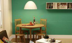 Conjunto para Sala de Jantar com Mesa dobrável, 2 Cadeiras, 2 Banquetas e Nicho Caramelo/Branco - Caaza