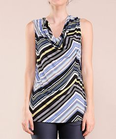 e919c79d58eec4 Loving this Blue Stripe Cowl Neck Tank on  zulily!  zulilyfinds Curvy  Outfits