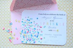 baby shower invite - simple, nice presentation with confetti