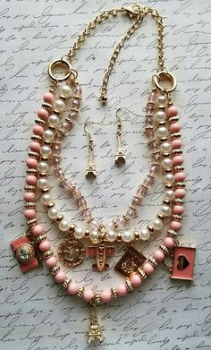 $20 + FREE SHIPPING https://www.etsy.com/listing/280328992/peach-welcome-to-paris-necklace-set