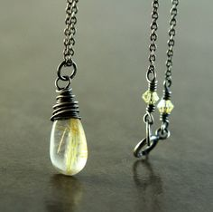 Golden Rutilated Quartz Necklace     Wire Wrapped   Drop by Hildes