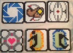 Portal/Portal 2 Themed Perler bead coasters Set of 6 by HappyOwlidays