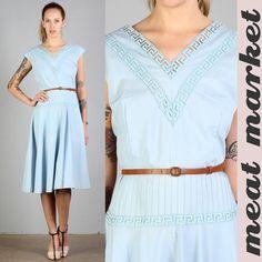 Vtg Lace Cut Out Madmen Geometric Secretary Native Garden Party Sun Dress 50s XL | eBay
