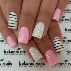 Pink and Sliver with White and Black Stripe Nail Art Design