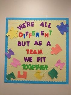 Puzzle Pieces Fit Together - Team Work Bulletin Board Staff Bulletin Boards, Preschool Bulletin Boards, Classroom Bulletin Boards, Teamwork Bulletin Boards, Motivational Bulletin Boards, Diversity Bulletin Board, January Bulletin Board Ideas, Bulletin Board Ideas For Teachers, Bulletin Board Sayings