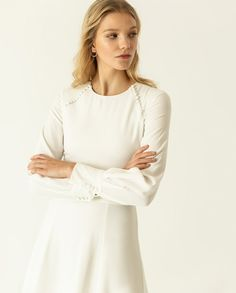 Midi-length dress with a round neck and long puffy sleeves White Long Sleeve Dress, White Dress, Snow Dress, Button Dress, Flare Skirt, Bridal Dresses, Bell Sleeve Top, Feminine, Model