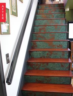 Before & After: Boring Stairs Get a Kick of Copper | Apartment Therapy