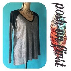 """Oversized Contrast Top High low, Side slit, 56/44 Rayon/Polyester Knit. Oversized. Comfy and cozy! Lightweight for everyday wear but easy to dress up. You can purchase this listing! Bundle & Save! MADE IN CAMBODIA. PRICE IS FIRM!  S: bust- 21""""; shoulders- 22""""; sleeve length- 19""""; length- 25""""; across bottom hem- 24"""". M: bust- 24""""; shoulders- 23 1/2""""; sleeve length- 19""""; length- 26""""; across bottom hem- 25"""". posh on first boutique Tops Tees - Long Sleeve"""