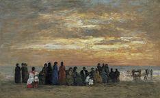 "Eugène Boudin. ""Figuras en la playa de Trouville"", 1869. Carmen Thyssen -Bornemisza en depósito en el Museo Thyssen -Bornemisza, Madrid"