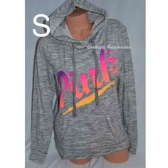 Victoria's Secret pink marled grey gray pullover hoodie Size Small Ombre print graphics orange pink neon Kangaroo pockets Drawstring hood 60% cotton 40% polyester Brand new Nwt