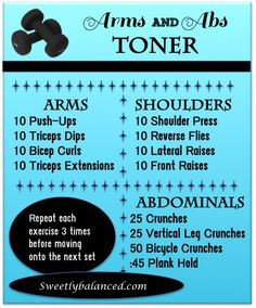 Arms and Abs Workout - Great workout! Do the AB portion in the middle or you'll die.