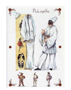 Slow and top-heavy, contrasting with the speed of his thought and speech.  But can also be acrobatic... (Rudlin)  Pulcinella moves in a low position until he is ready to strike, then he bounces up to full height.