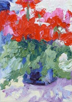 Geranium Glow, ACEO Floral Oil Original, painting by artist Roxanne Steed