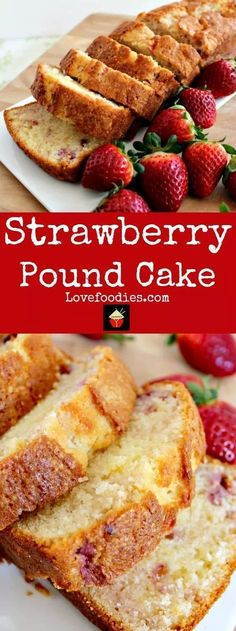 Strawberry Pound Cake. A delicious recipe bursting with fresh strawberries. Soft, moist and perfect with a morning coffee or to take to friends! | http://Lovefoodies.com