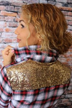 Taylor Top @unhingedboutik. Sequin Plaid. Plaid. Glitter. Order at www.unhingedboutique.com. Unhinged Boutique in Jupiter  Florida