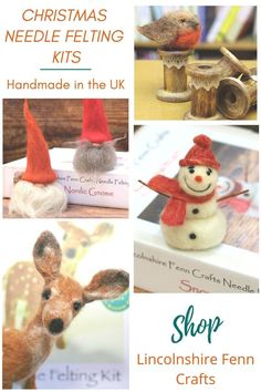 Craft your Christmas with an inspiring needle felting kit from Lincolnshire Fenn Crafts. Handmade in the UK from £17.45 including UK postage. Worldwide shipping.  #needlefeltingkits #craftkits #lincolnshirefenncrafts Easy Felt Crafts, New Crafts, Needle Felting Kits, Needle Felting Tutorials, Creative Christmas Gifts, Diy Christmas, Craft Kits, Craft Ideas, Felt Christmas Decorations