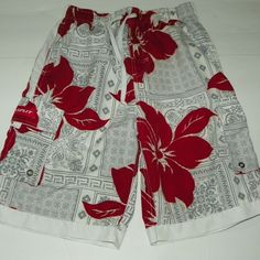 764fe3865c B Split Floral Swim Trunks Board Shorts Size L Red Gray White Floral  #BSplit #