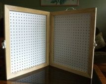 Handmade Framed Pegboard Display Case w. Appx 24 x 20 and 2 thick when closed. Great for displaying jewelry at craft shows Necklace Display, Jewellery Display, Earring Display, Bridal Jewellery, Earring Storage, Jewellery Storage, Bow Display, Display Ideas, Booth Ideas