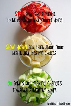 I think this applies to more than weight loss. It's about total health. Pursuing the best you can be - mentally, physically and spiritually. Get Healthy, Healthy Snacks, Healthy Recipes, Healthy Eats, Healthy Fruits, Happy Healthy, Fruit Recipes, Eating Healthy, Easy Recipes