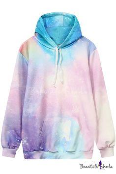 Drawstring Hooded Pink Galaxy 3D Printed Color Block Hoodie Sweatshirt with  One Pocket 89c51a4617b