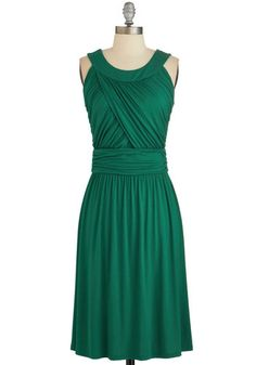 So Happy to Gather Dress in Fern - Green, Solid, Ruching, Wedding, Casual, Bridesmaid, A-line, Sleeveless, Good, Fall, Knit, Variation