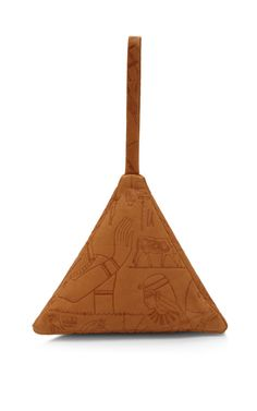 Small Leather Pyramid Pouch with Hieroglyphics by Slow and Steady Wins the Race Now Available on Moda Operandi