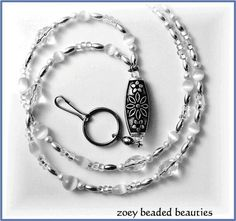 Items similar to White Beaded Lanyard/ Id Badge Holder/Necklace on Etsy Beaded Jewelry, Unique Jewelry, Glass Jewelry, Hardware Jewelry, Beaded Lanyards, Id Badge Holders, Schmuck Design, White Beads, Jewelry Crafts