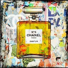 CHANEL FRANCE Pop Art Fashion and Faces Beautiful original painting with mixed media technique Cobra Art Company