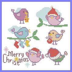 BOGO FREE Merry Christmas Birds cross stitch pattern PDF